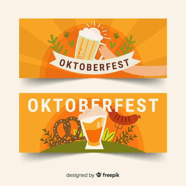 Modelo de banners de oktoberfest de design plano Vetor grátis