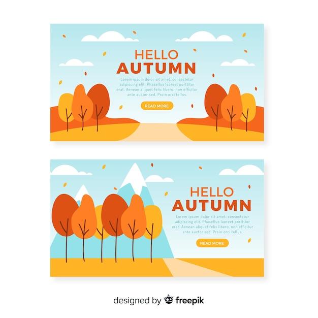 Modelo de banners de outono design plano Vetor grátis