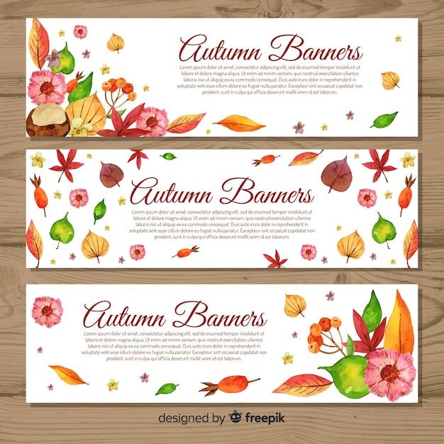 Modelo de banners de outono estilo aquarela Vetor grátis