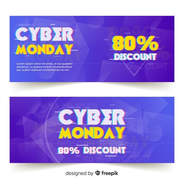Modelo de banners de segunda-feira cyber efeito Vetor grátis