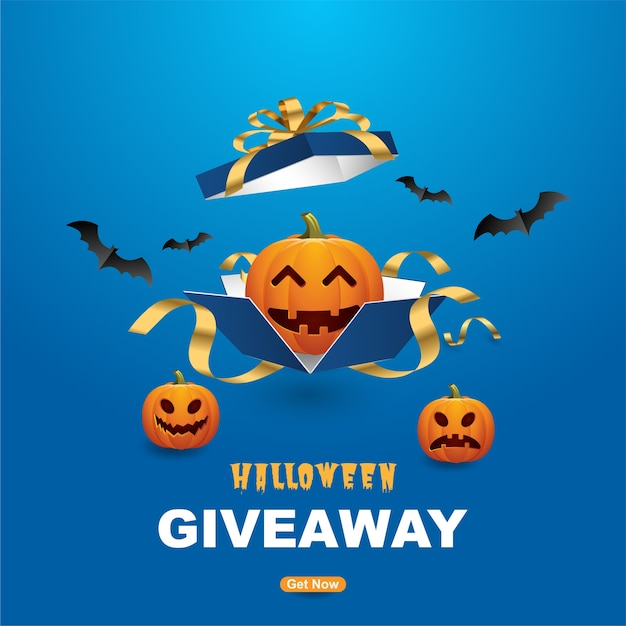 Modelo de banners de sorteio de halloween feliz com abóboras assustadoras. Vetor Premium