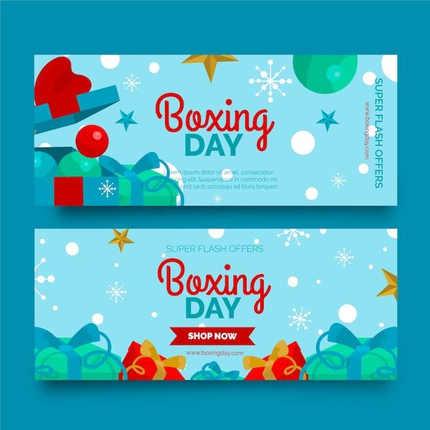 Modelo de banners de venda de dia de boxe de design plano Vetor grátis