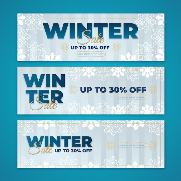 Modelo de banners de venda de inverno design plano Vetor grátis