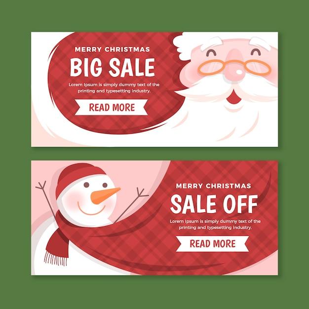 Modelo de banners de venda de natal de design plano Vetor grátis