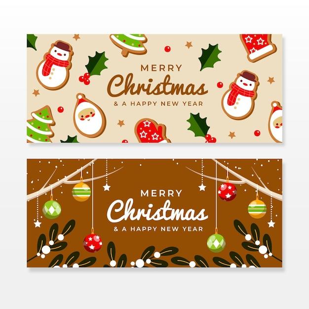 Modelo de banners de venda de natal de design plano Vetor Premium