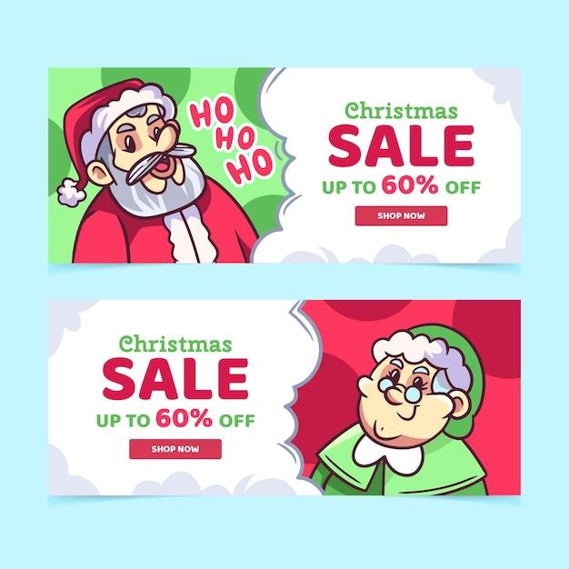 Modelo de banners de venda de natal desenhado à mão Vetor grátis