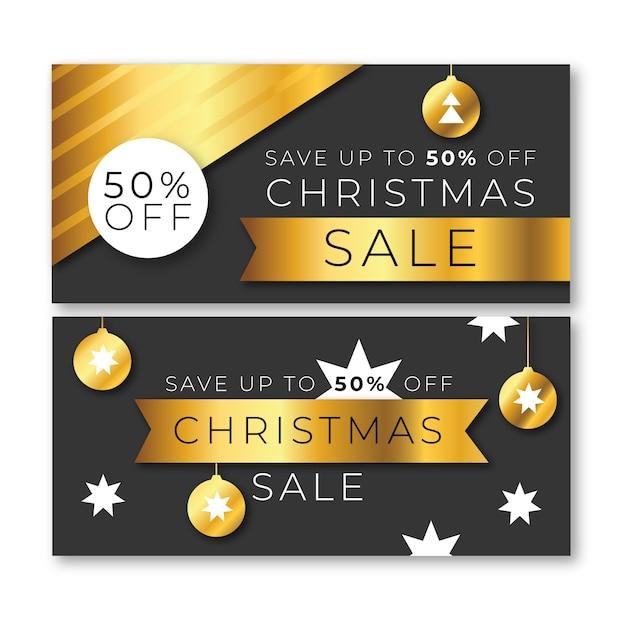 Modelo de banners de venda de natal dourado Vetor grátis
