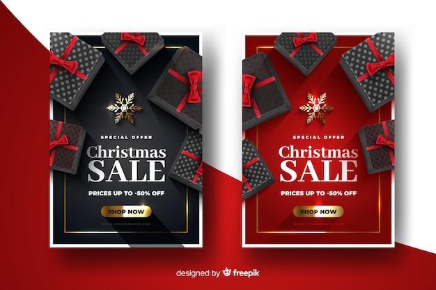 Modelo de banners de venda de natal realista Vetor grátis