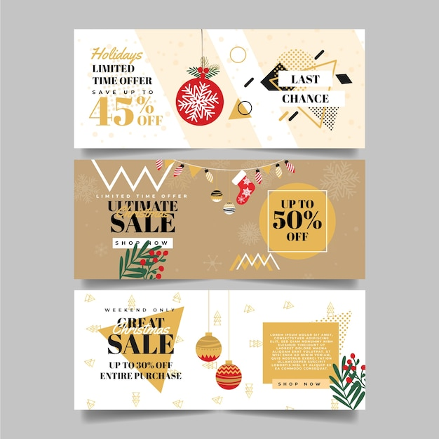 Modelo de banners de venda de natal Vetor grátis
