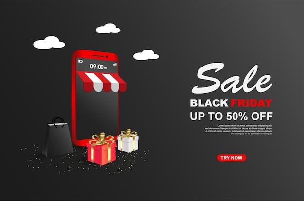 Modelo de banners de venda na sexta-feira negra com celular Vetor Premium