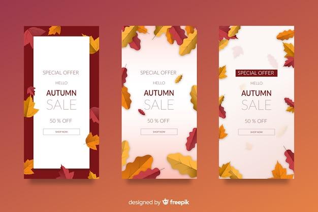 Modelo de banners de venda plana outono Vetor grátis