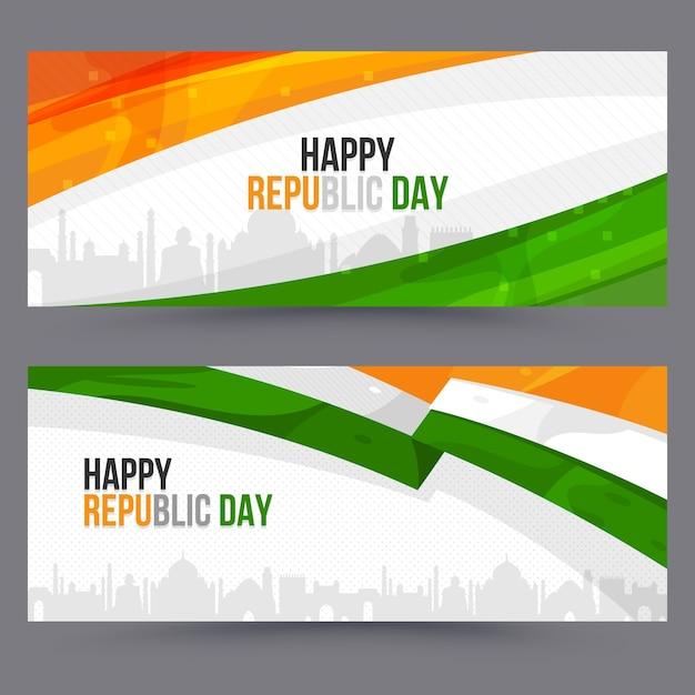 Modelo de banners do dia da república indiana de design plano Vetor Premium