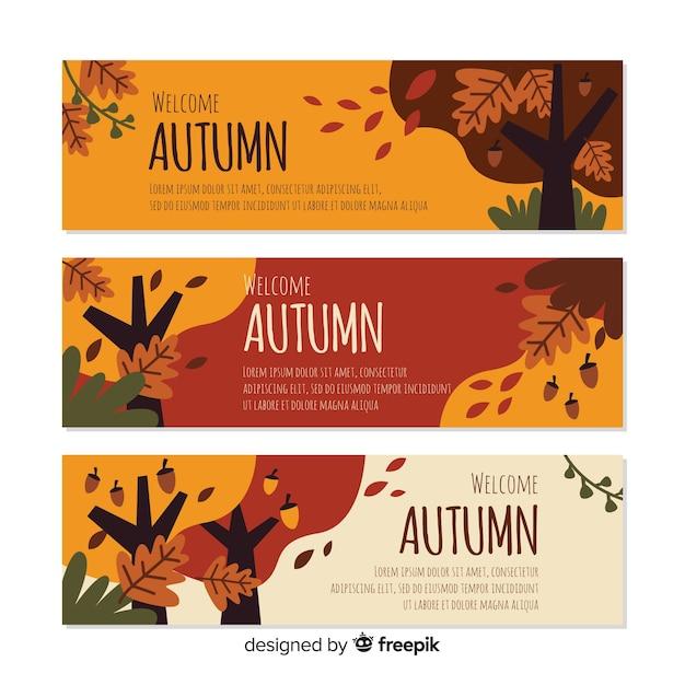 Modelo de banners outono plana com folhas Vetor grátis