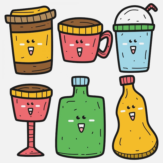 Modelo de bebida doodle kawaii Vetor Premium