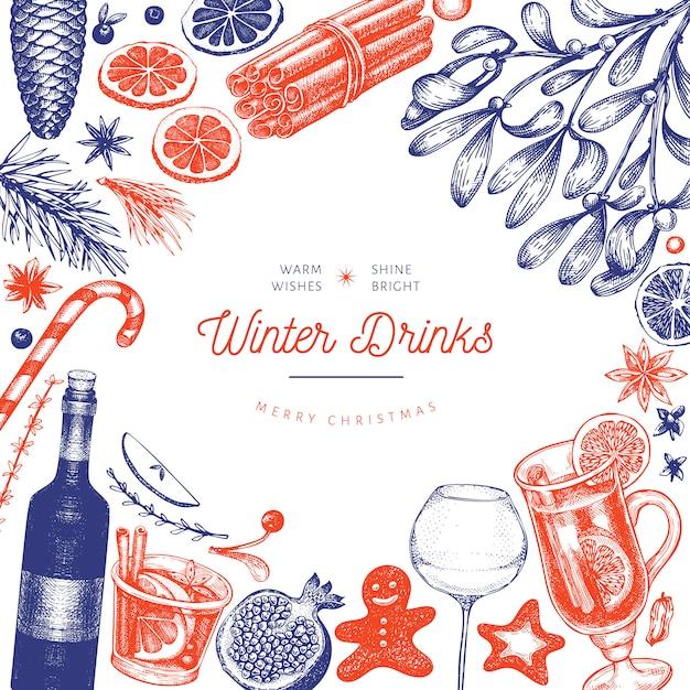 Modelo de bebidas de inverno. mão desenhada estilo gravado mulled vinho, chocolate quente, ilustrações de especiarias. fundo de natal vintage. Vetor Premium