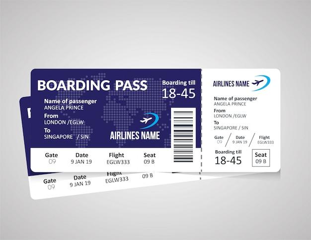 Modelo de bilhete de embarque de avião Vetor Premium
