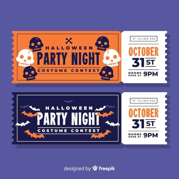 Modelo de bilhete de festa de halloween colorido mão desenhada Vetor grátis