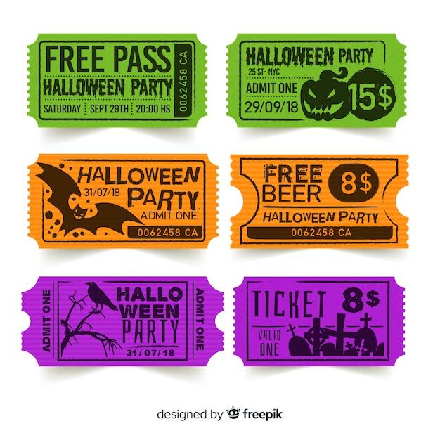 Modelo de bilhete de halloween criativo Vetor grátis