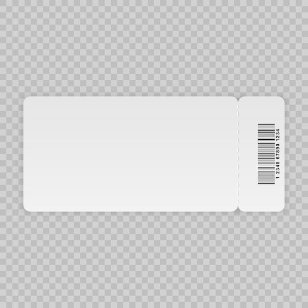 Modelo de bilhete isolado em um fundo transparente Vetor Premium