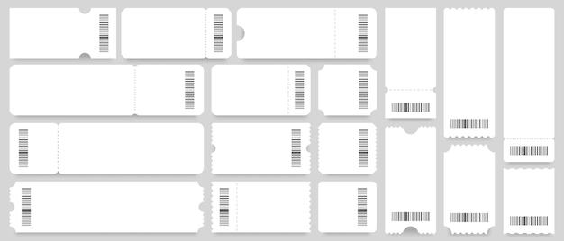 Modelo de bilhete ou cupom. bilhetes brancos vazios, cupons vintage com código de barras Vetor Premium