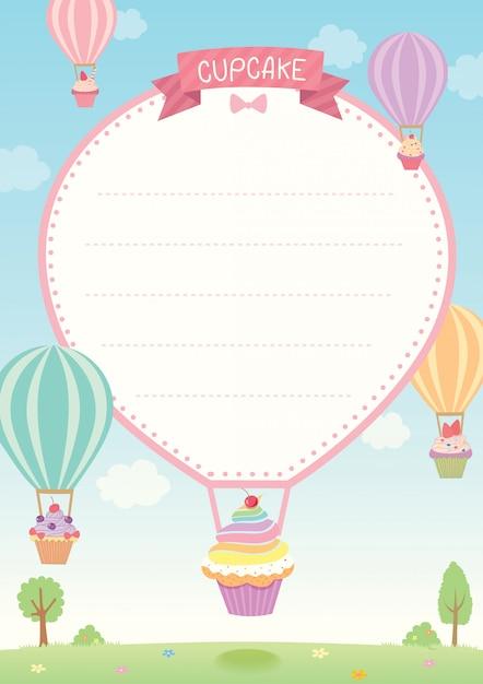 Modelo de bolinho de balão Vetor Premium