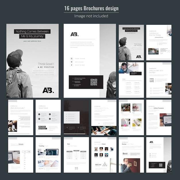 Modelo de brochura - 16 páginas de negócios mínimos Vetor Premium
