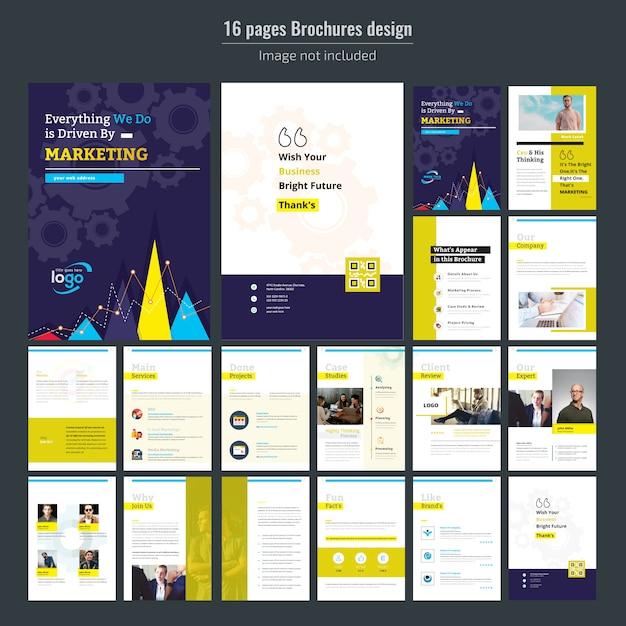 Modelo de brochura - 16 páginas marketing empresarial Vetor Premium
