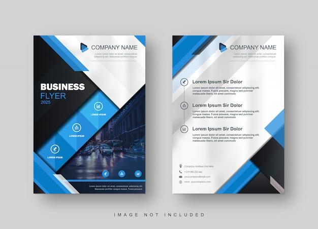 Modelo de brochura - azul moderno na moda Vetor Premium