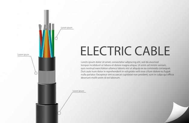 Modelo de cabo elétrico Vetor Premium