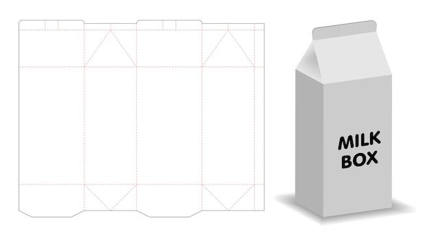 Modelo de caixa de leite maquete 3d com dieline Vetor Premium