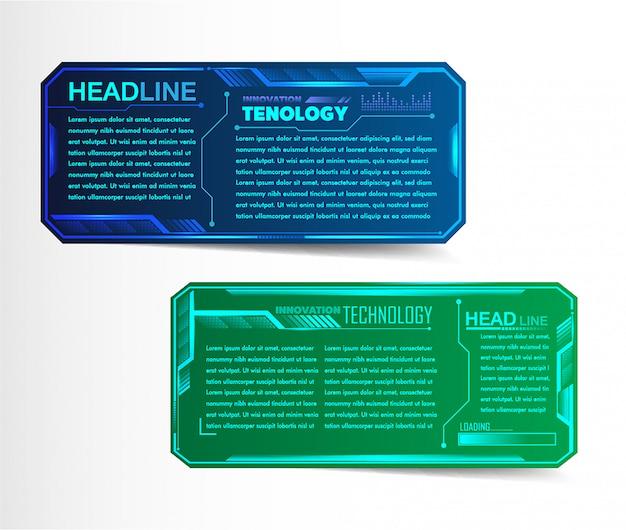 Modelo de caixa de texto de papel moderno, banner de circuito infográfico Vetor Premium