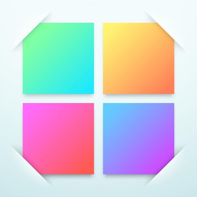 Modelo de caixas de texto em branco quadrado colorido Vetor Premium