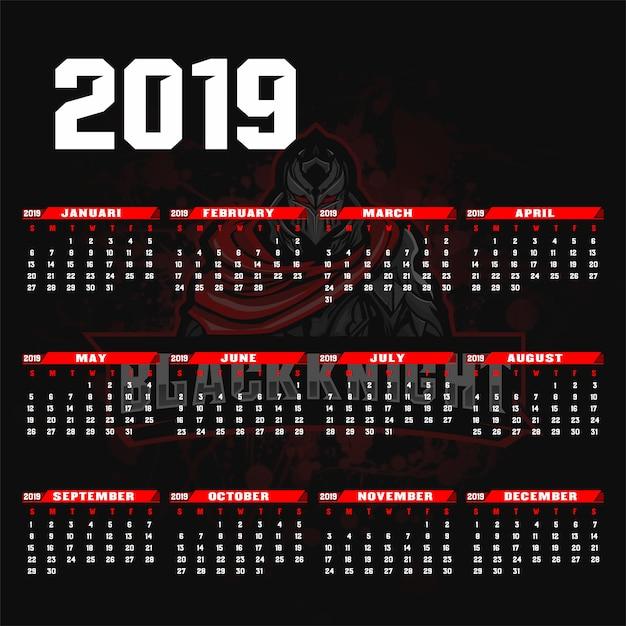 Modelo de calendário 2019 esport / sport estilo de fundo. Vetor Premium
