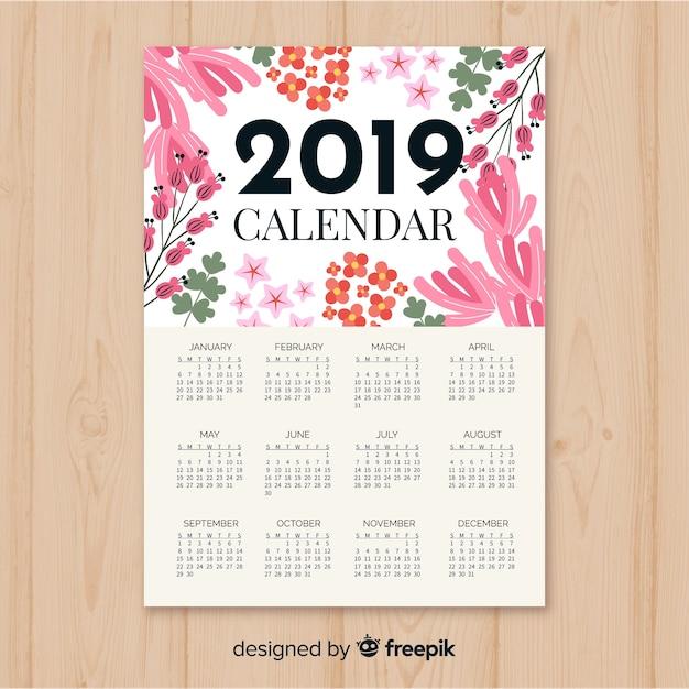 modelo de calend u00e1rio 2019 floral em aquarela