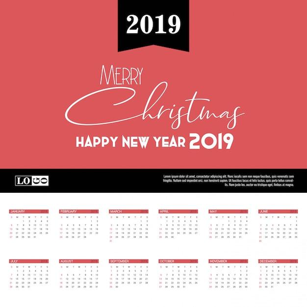Modelo de calendário 2019 Vetor Premium