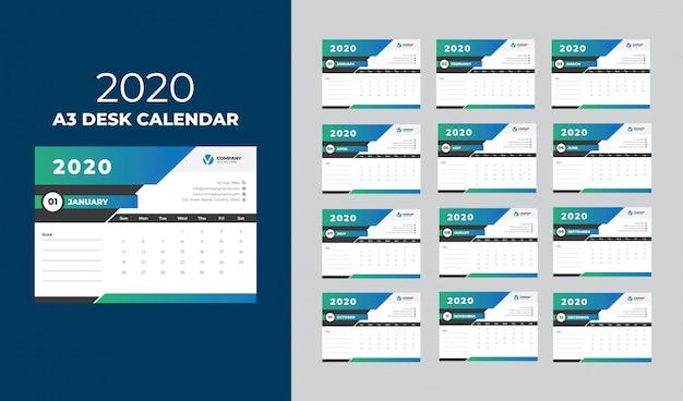 Modelo de calendário 2020 de mesa a3 Vetor Premium