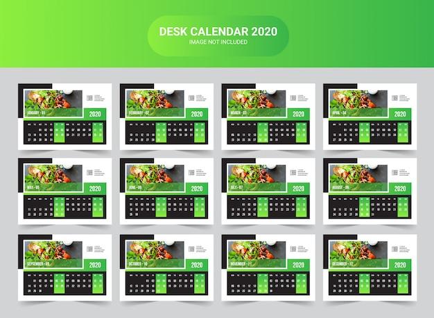 Modelo de calendário 2020 de mesa de comida Vetor Premium