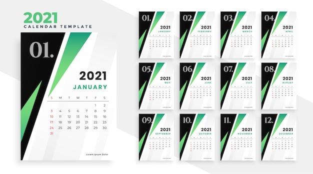 Modelo de calendário 2021 em design de estilo geométrico Vetor grátis