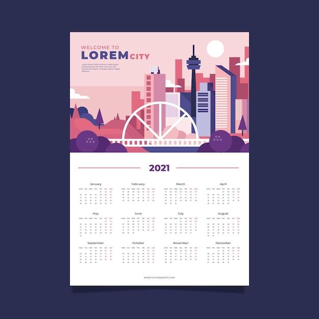 Modelo de calendário 2021 Vetor grátis