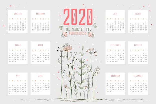 Modelo de calendário abstrato 2020 Vetor grátis