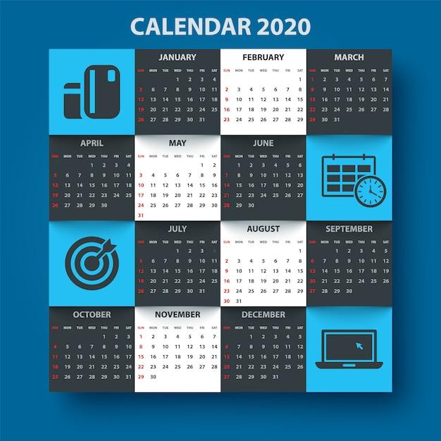 Modelo de calendário ano 2020. modelo de negócio Vetor Premium