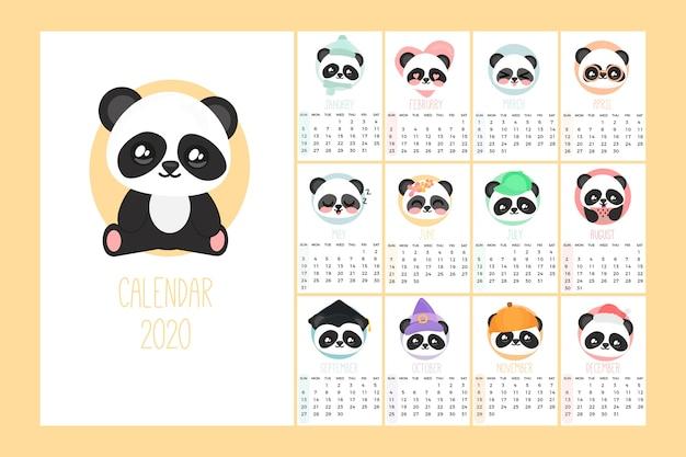 Modelo de calendário bonito 2020 Vetor grátis