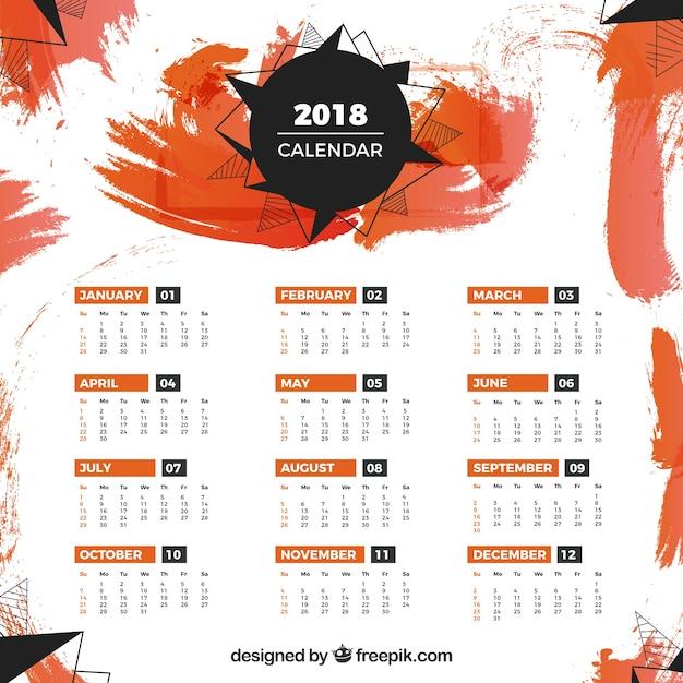 Modelo de calendário de 2018 com manchas de laranja Vetor grátis