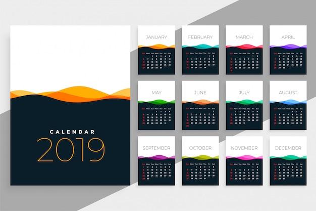 Modelo de calendário de 2019 com ondas coloridas Vetor grátis