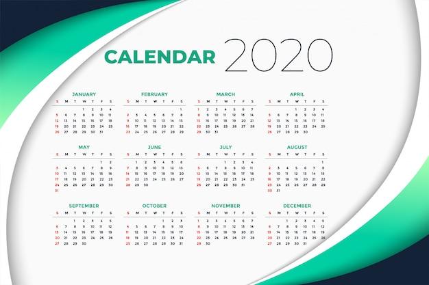 Modelo de calendário de ano novo de 2020 em estilo de negócios Vetor grátis