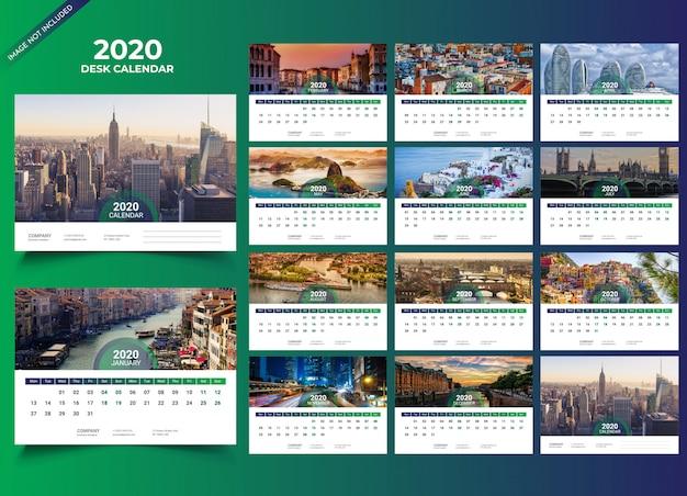 Modelo de calendário de mesa 2020 Vetor Premium