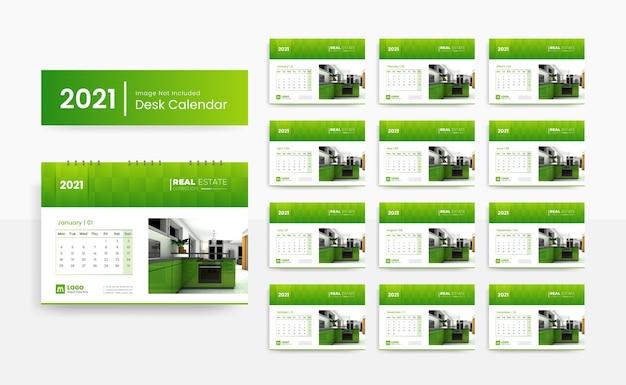 Modelo de calendário de mesa 2021 criativo para imobiliária com cor verde Vetor Premium