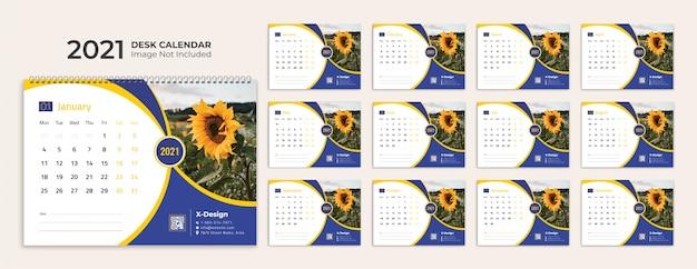 Modelo de calendário de mesa 2021 Vetor Premium