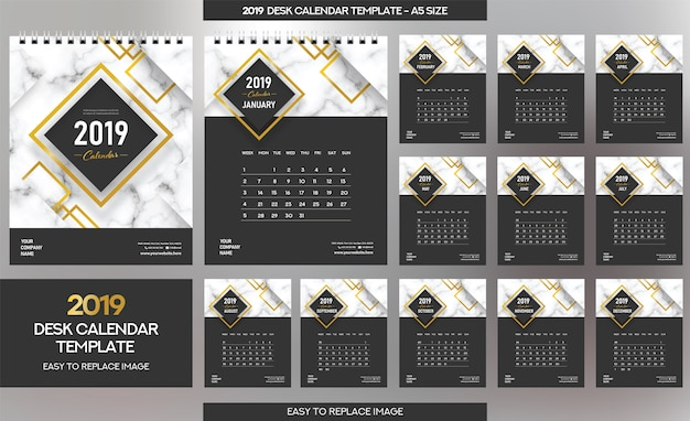 Modelo de calendário de mesa de mármore 2019 Vetor Premium