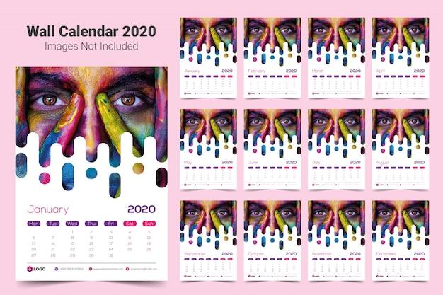 Modelo de calendário de parede 2020 Vetor Premium